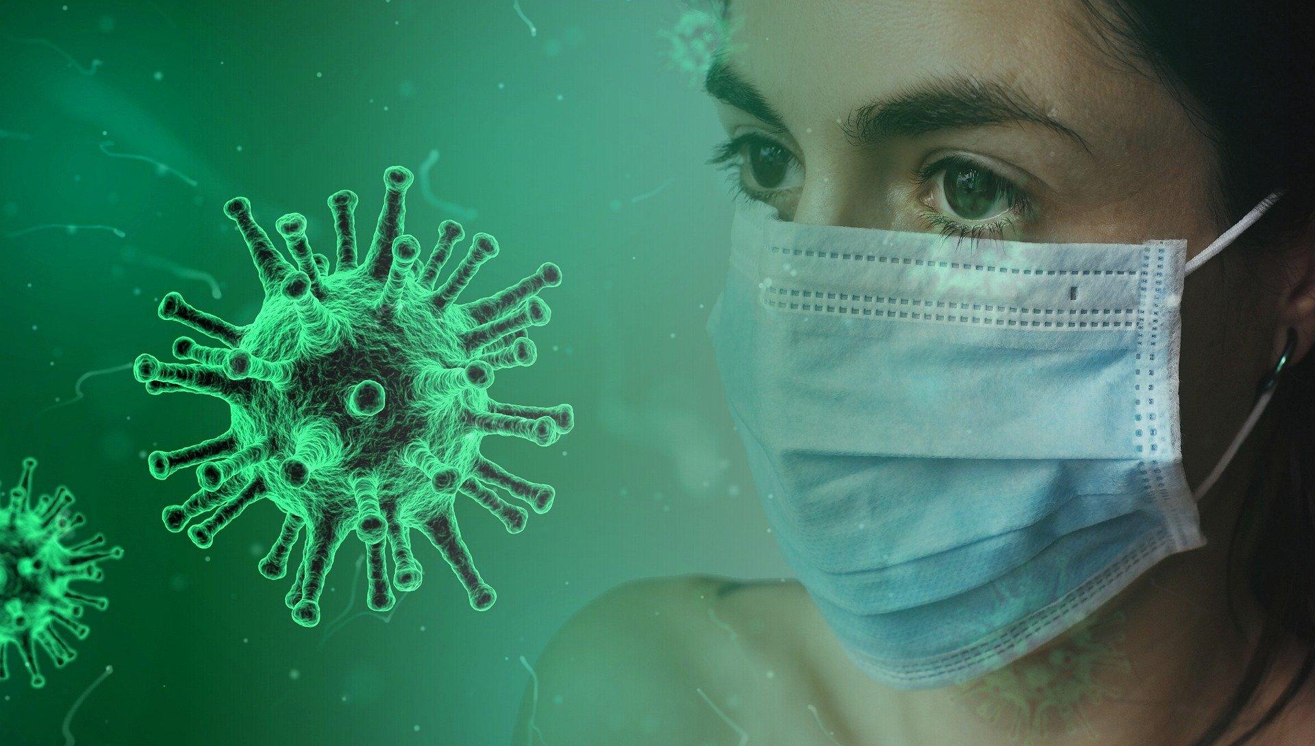 obrazek wirusa - odnośnik do artykułów dotyczących covid 19